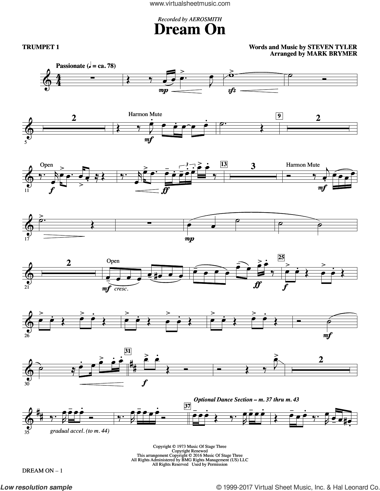 Dream On (complete set of parts) sheet music for orchestra/band by Mark Brymer, Aerosmith and Steven Tyler, intermediate skill level