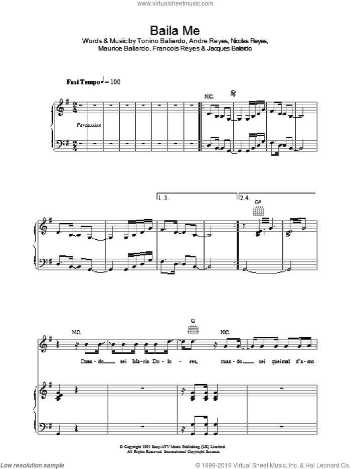 Baila Me sheet music for voice, piano or guitar by Andre Reyes