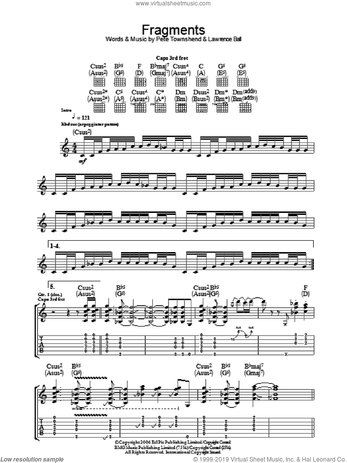 Fragments sheet music for guitar (tablature) by Lawrence Ball, The Who and Pete Townshend. Score Image Preview.