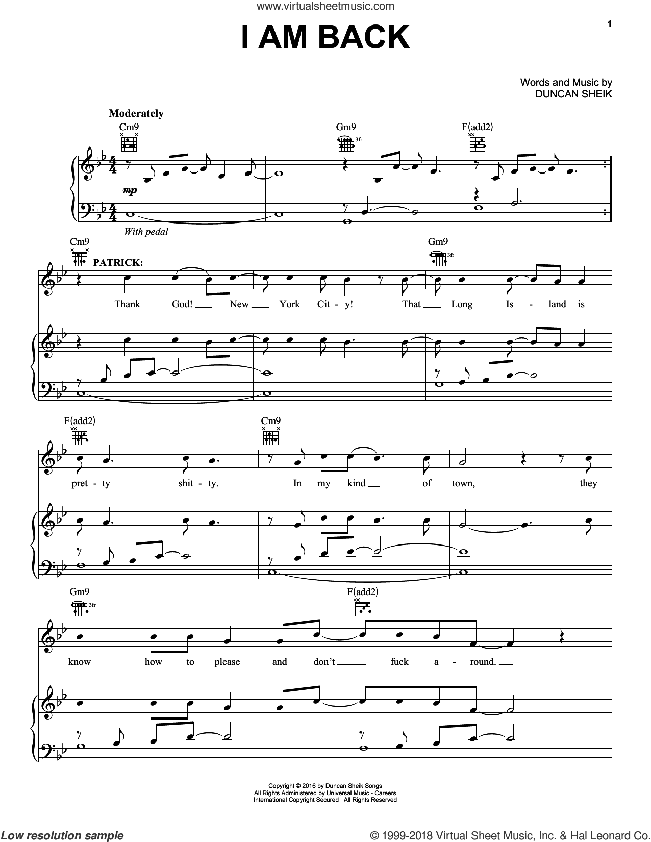 I Am Back sheet music for voice, piano or guitar by Duncan Sheik, intermediate skill level