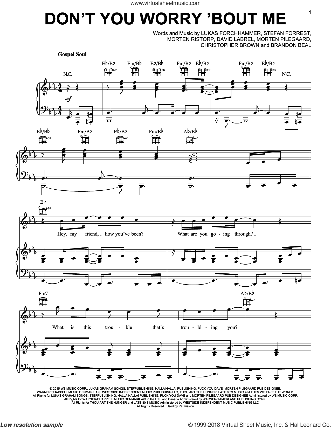 Don't You Worry 'Bout Me sheet music for voice, piano or guitar by Lukas Graham, Brandon Beal, Chris Brown, David Labrel, Lukas Forchhammer, Morten Pilegaard, Morten Ristorp and Stefan Forrest, intermediate skill level