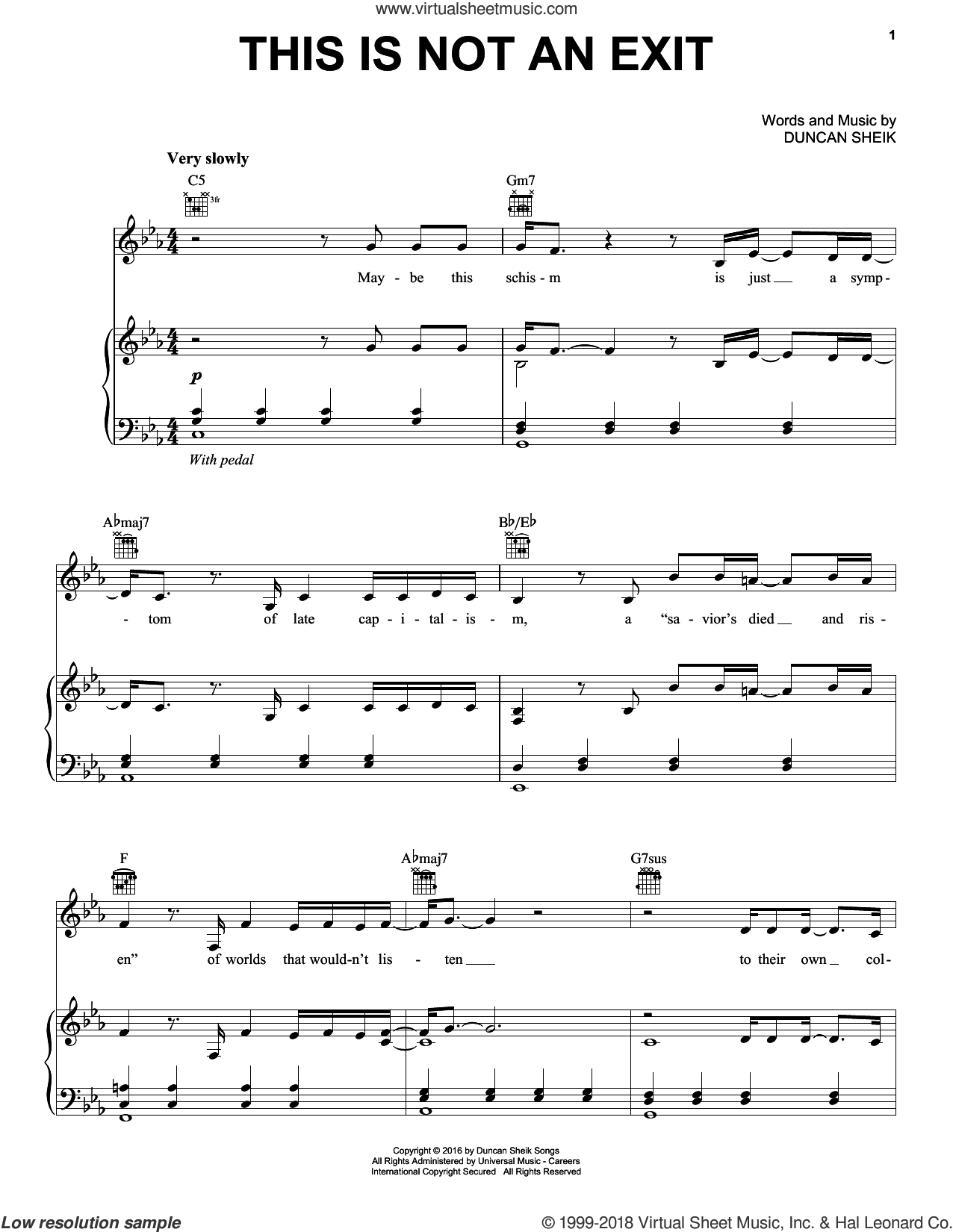 This Is Not An Exit sheet music for voice, piano or guitar by Duncan Sheik. Score Image Preview.