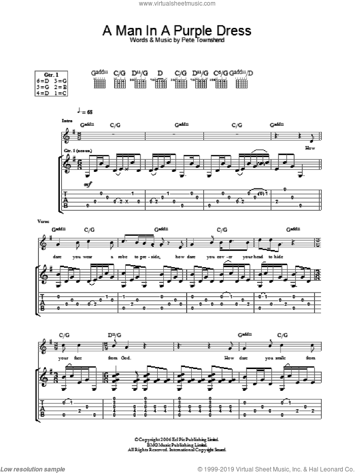 A Man In A Purple Dress sheet music for guitar (tablature) by The Who and Pete Townshend, intermediate skill level
