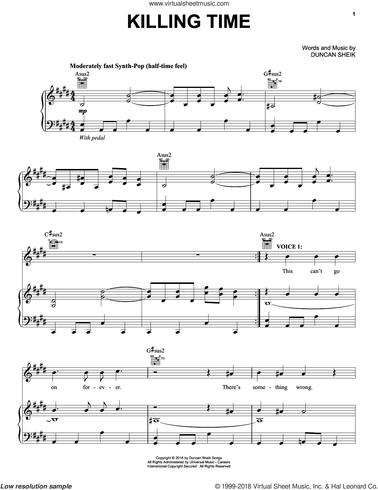 Killing Time sheet music for voice, piano or guitar by Duncan Sheik, intermediate. Score Image Preview.