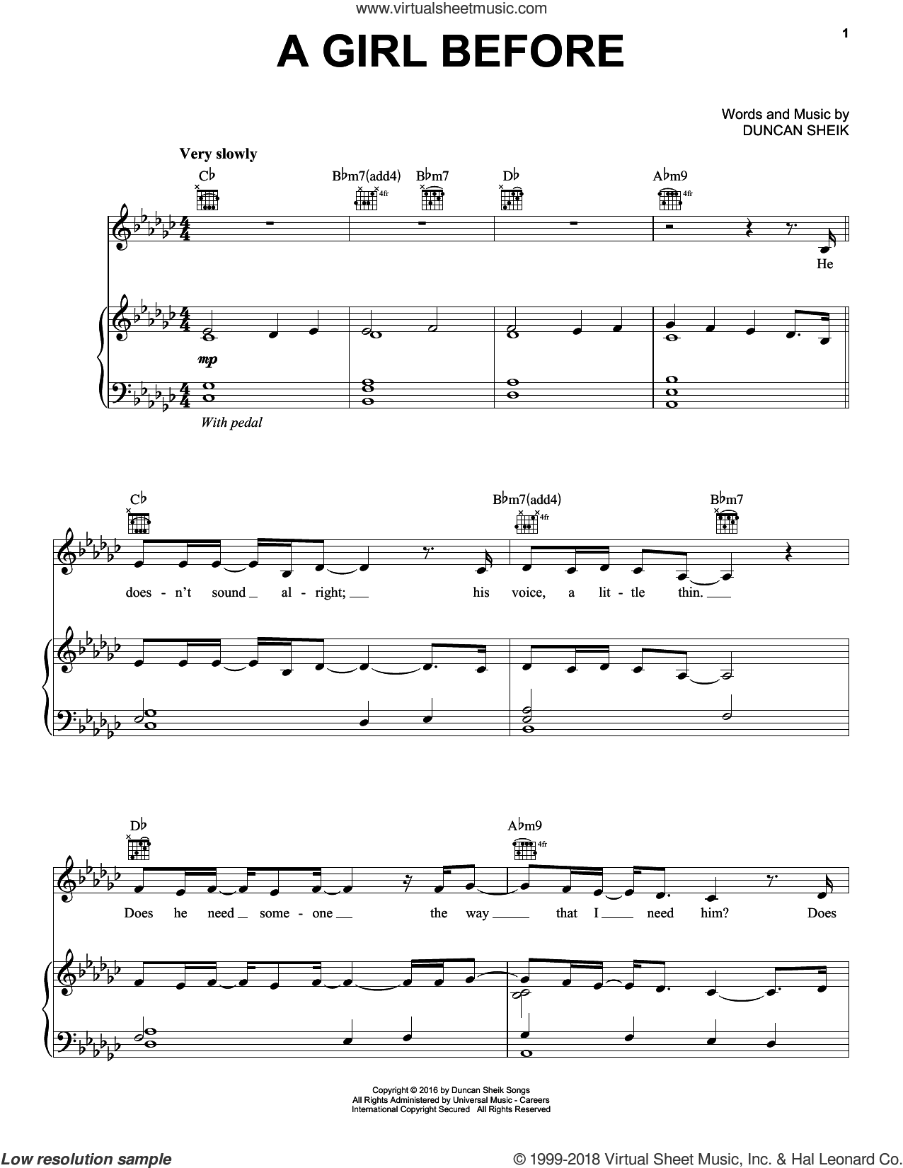 A Girl Before sheet music for voice, piano or guitar by Duncan Sheik, intermediate skill level