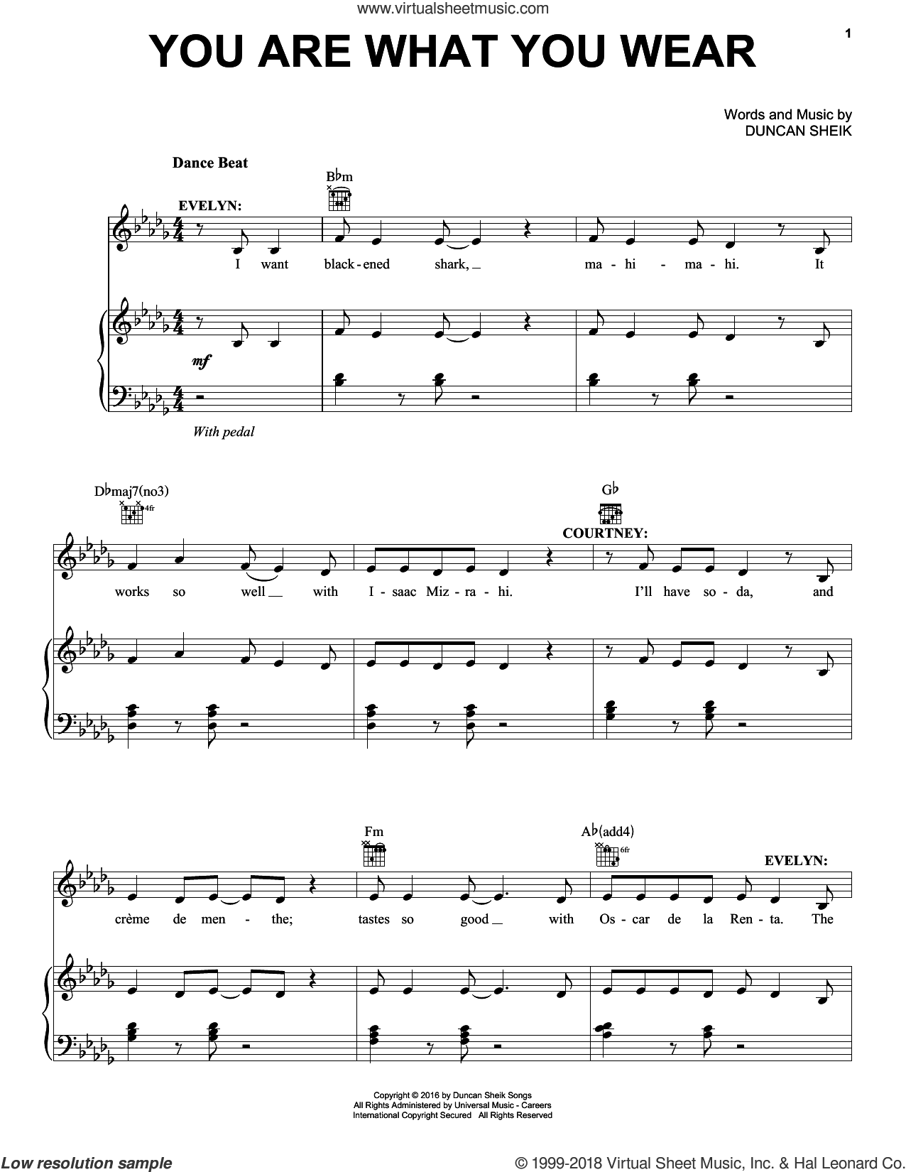 You Are What You Wear sheet music for voice, piano or guitar by Duncan Sheik. Score Image Preview.