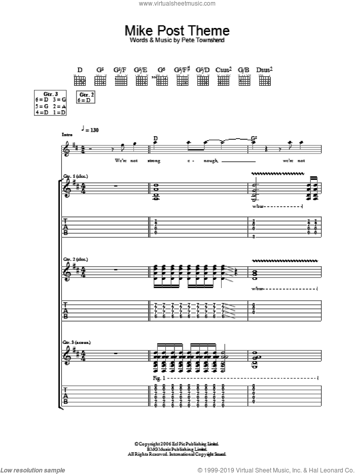 Mike Post Theme sheet music for guitar (tablature) by Pete Townshend and The Who. Score Image Preview.