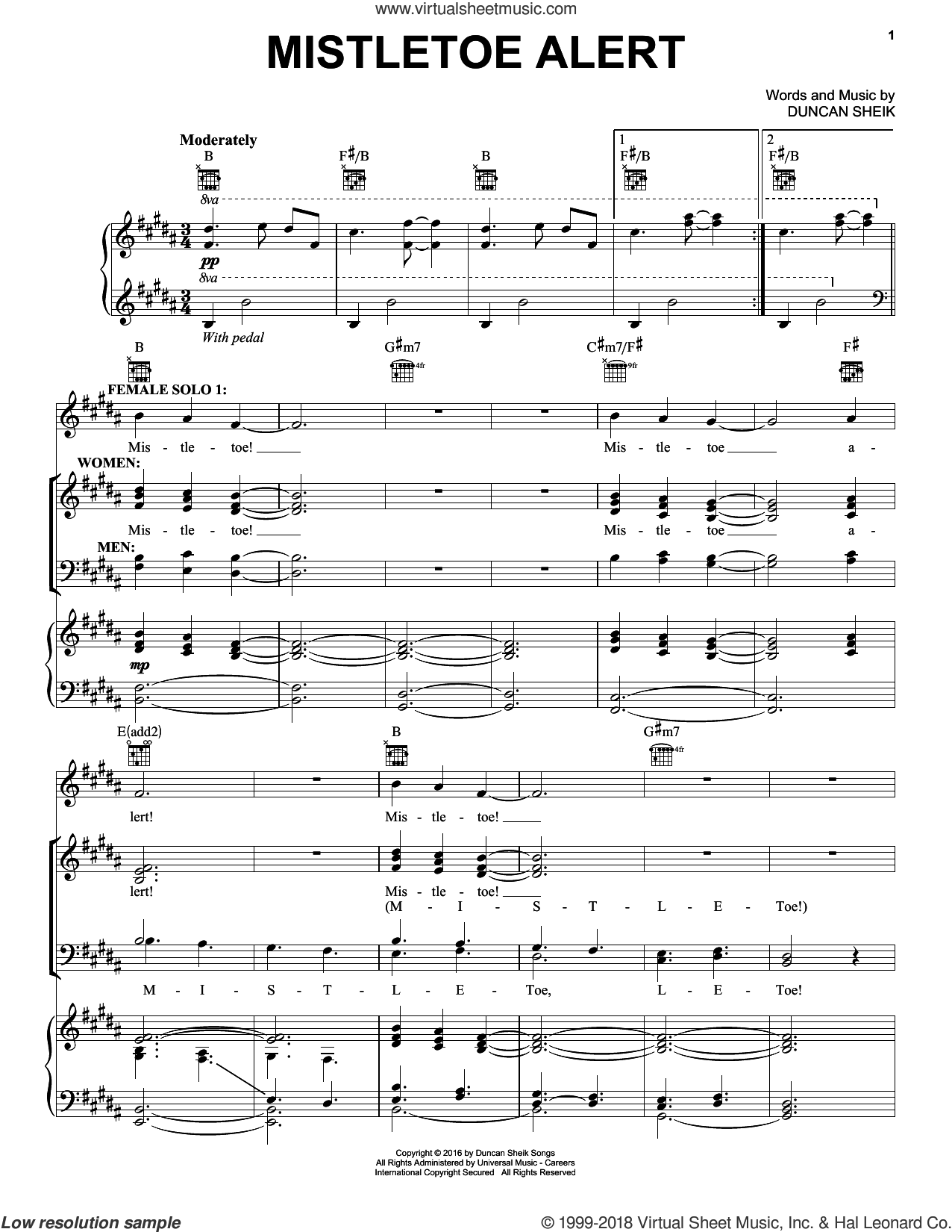 Mistletoe Alert sheet music for voice, piano or guitar by Duncan Sheik, intermediate skill level