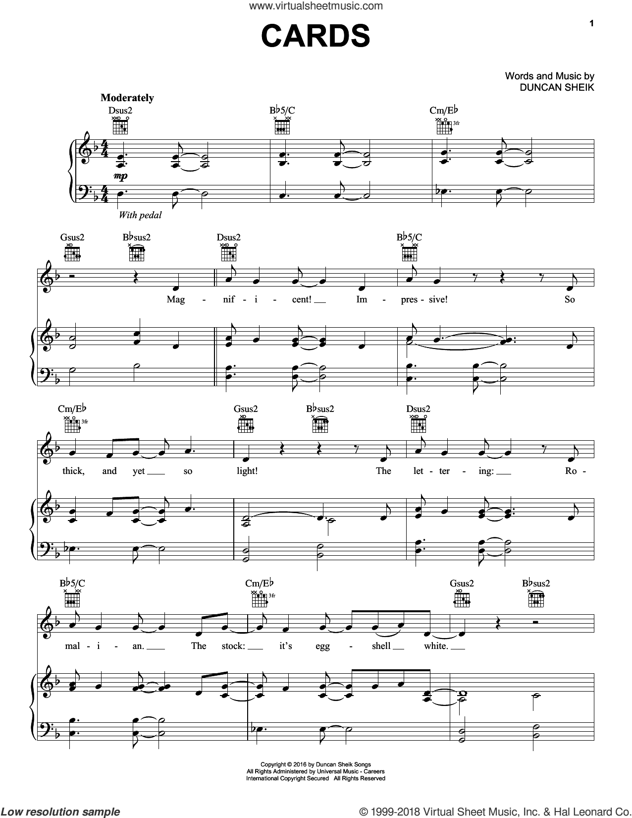 Cards sheet music for voice, piano or guitar by Duncan Sheik, intermediate skill level