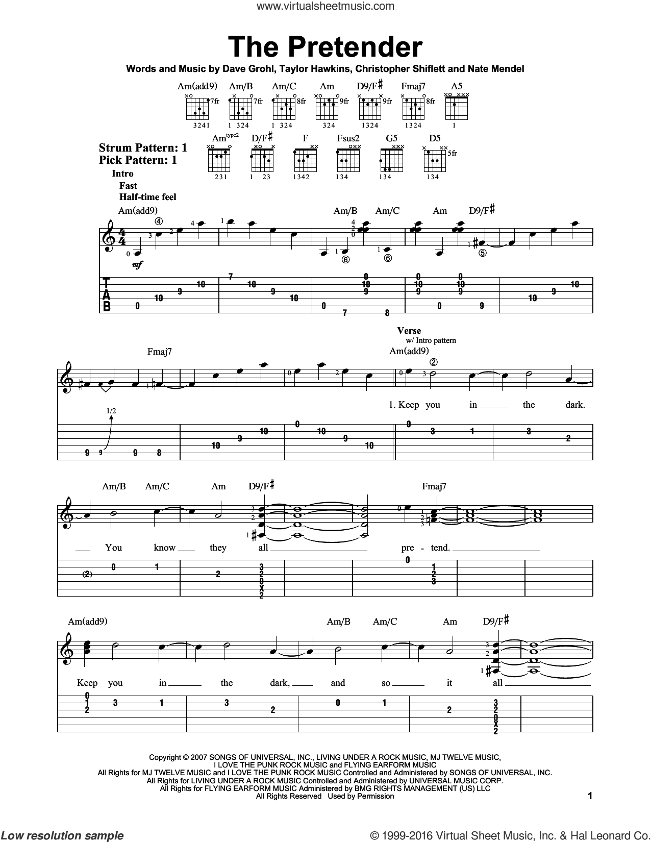 The Pretender sheet music for guitar solo (easy tablature) by Foo Fighters, Christopher Shiflett, Dave Grohl, Nate Mendel and Taylor Hawkins, easy guitar (easy tablature)