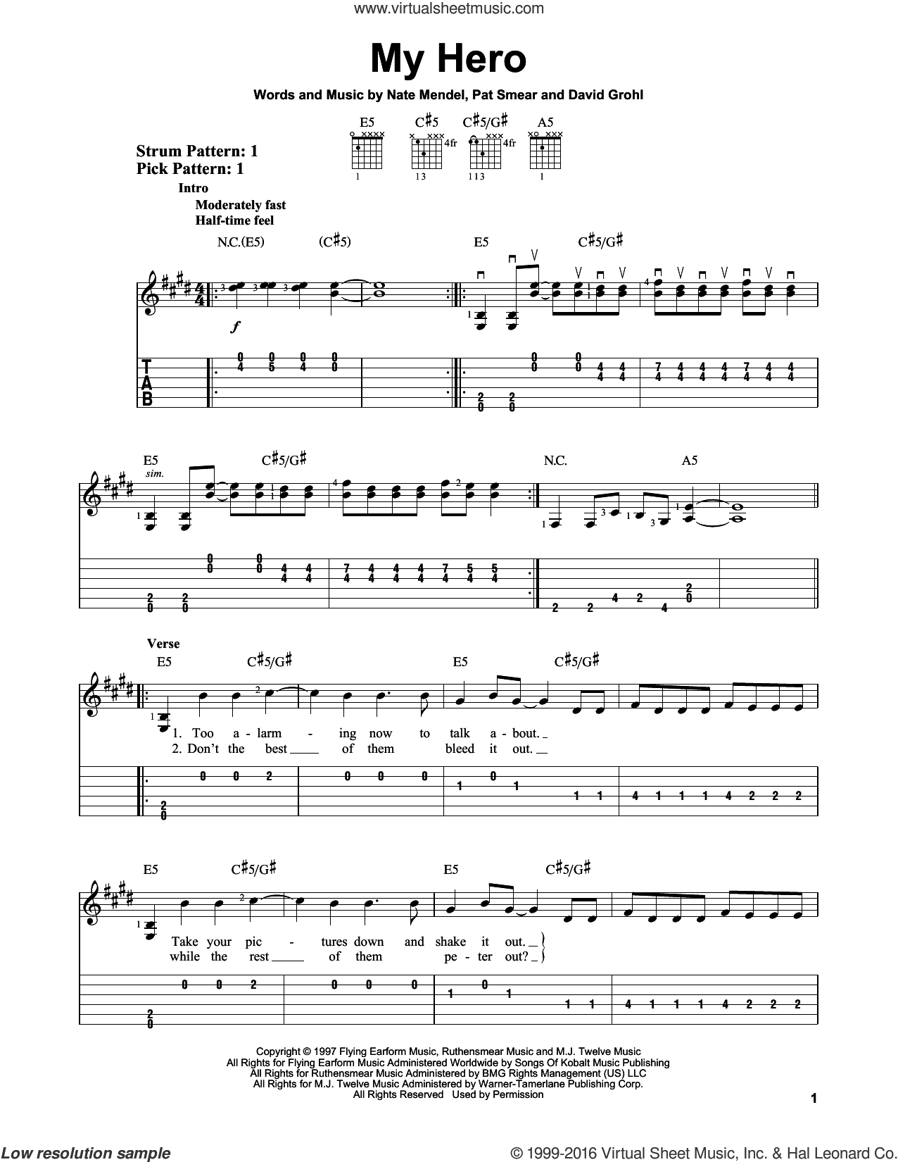 My Hero sheet music for guitar solo (easy tablature) by Pat Smear, Foo Fighters, Dave Grohl and Nate Mendel. Score Image Preview.
