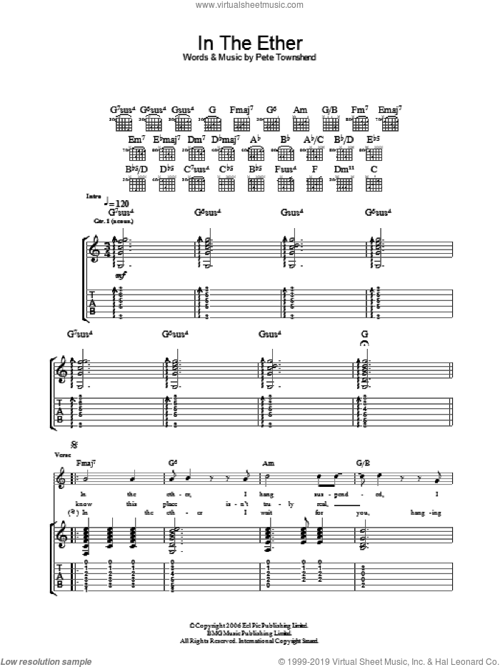 In The Ether sheet music for guitar (tablature) by Pete Townshend and The Who. Score Image Preview.