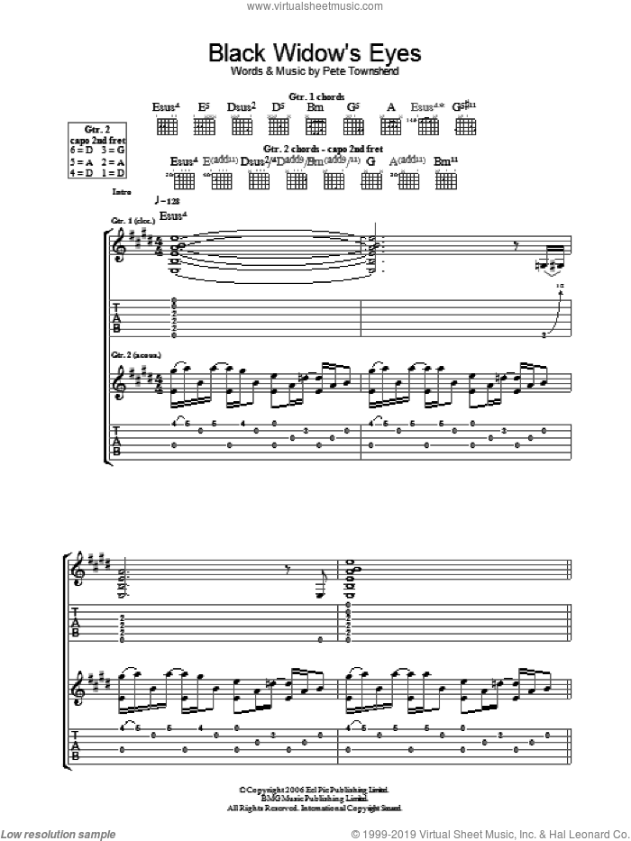 Black Widow's Eyes sheet music for guitar (tablature) by Pete Townshend and The Who. Score Image Preview.