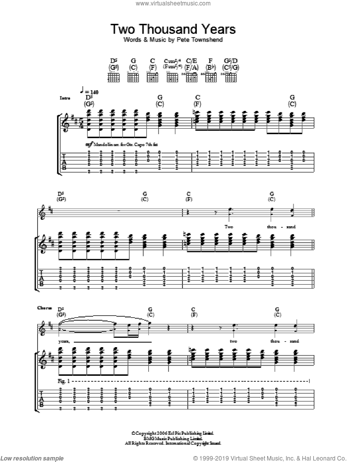 Two Thousand Years sheet music for guitar (tablature) by The Who and Pete Townshend. Score Image Preview.