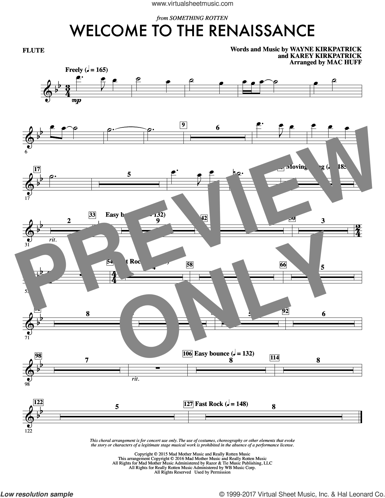 Welcome to the Renaissance (complete set of parts) sheet music for orchestra/band by Mac Huff, Karey Kirkpatrick and Wayne Kirkpatrick, intermediate skill level