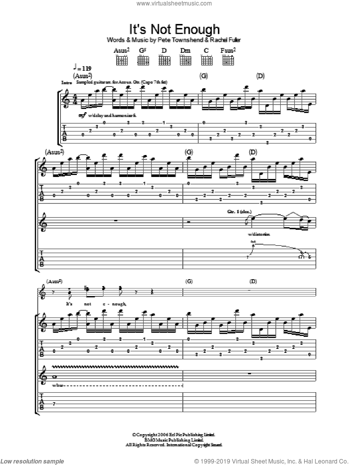 It's Not Enough sheet music for guitar (tablature) by The Who, Pete Townshend and Rachel Fuller, intermediate. Score Image Preview.