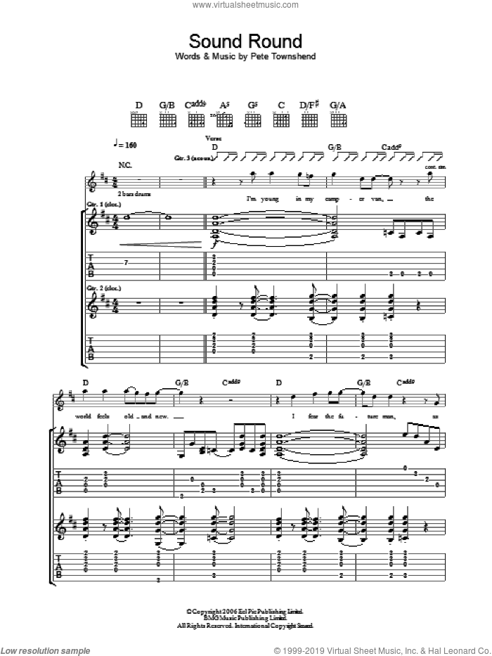Sound Round sheet music for guitar (tablature) by The Who and Pete Townshend, intermediate. Score Image Preview.
