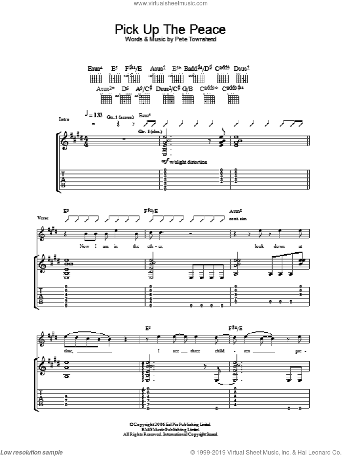 Pick Up The Peace sheet music for guitar (tablature) by Pete Townshend and The Who. Score Image Preview.