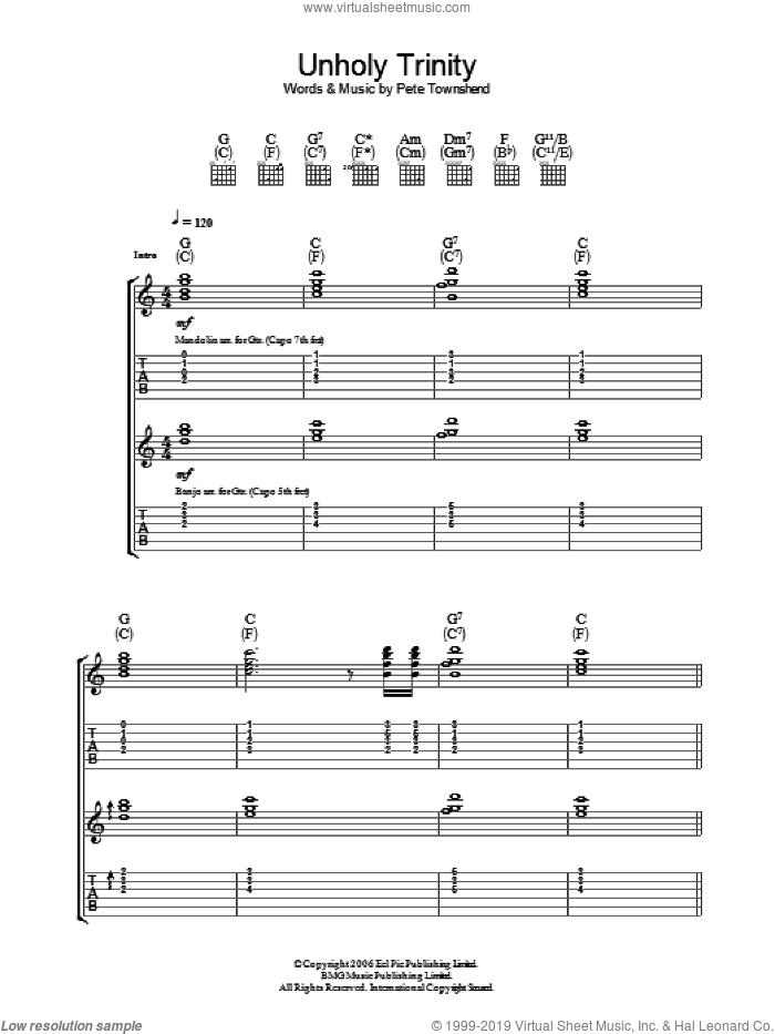 Unholy Trinity sheet music for guitar (tablature) by The Who and Pete Townshend, intermediate. Score Image Preview.
