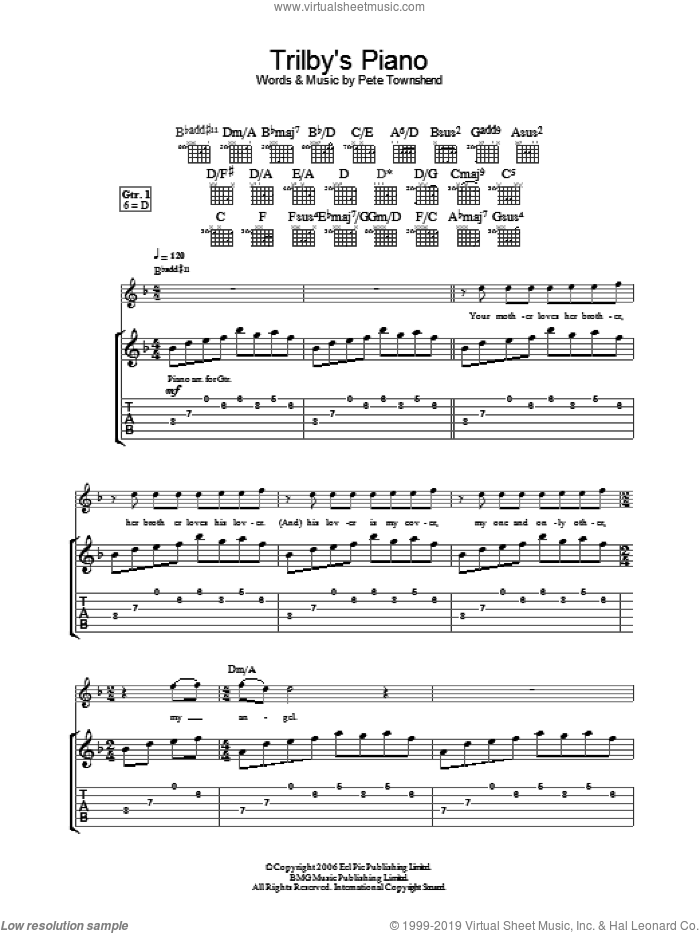 Trilby's Piano sheet music for guitar (tablature) by The Who and Pete Townshend, intermediate. Score Image Preview.