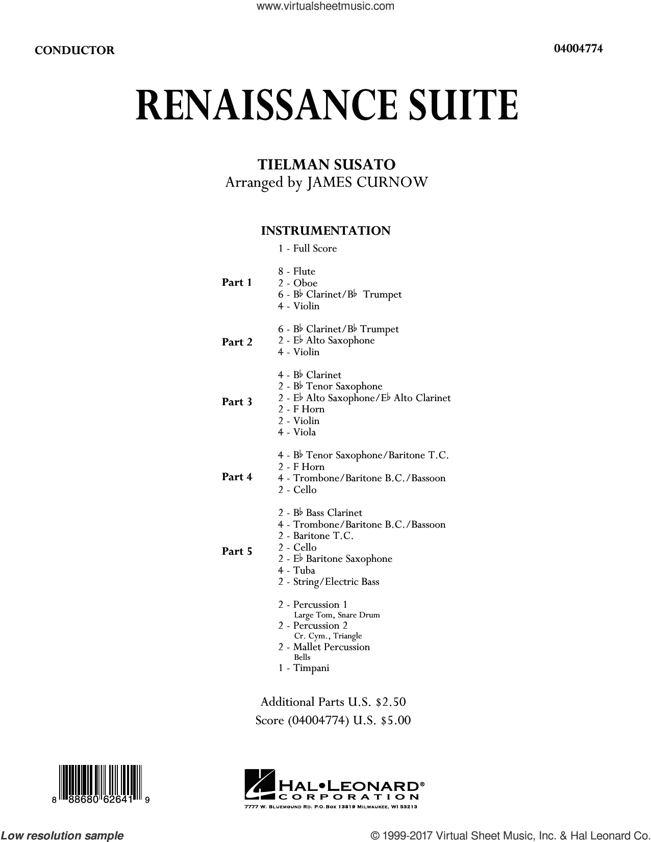 Renaissance Suite (COMPLETE) sheet music for concert band by James Curnow and Tielman Susato, intermediate. Score Image Preview.