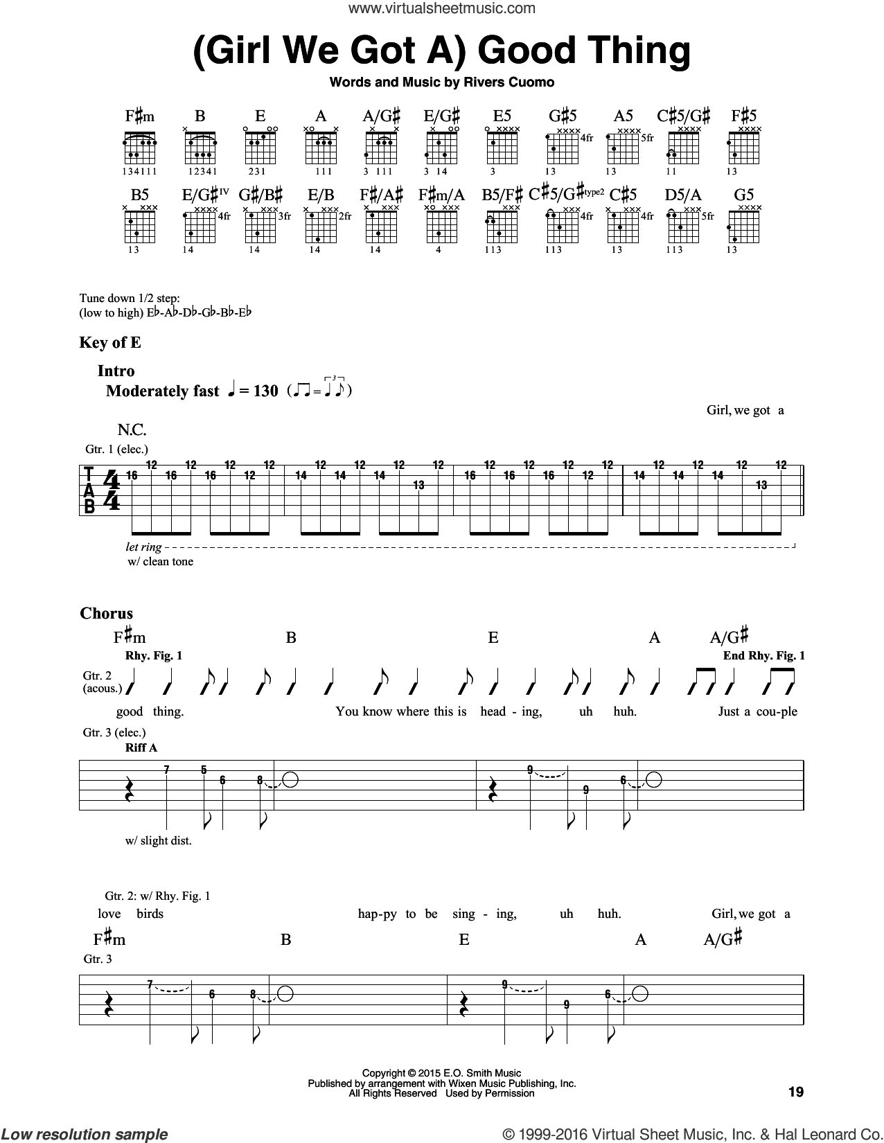(Girl We Got A) Good Thing sheet music for guitar solo (lead sheet) by Rivers Cuomo and Weezer. Score Image Preview.
