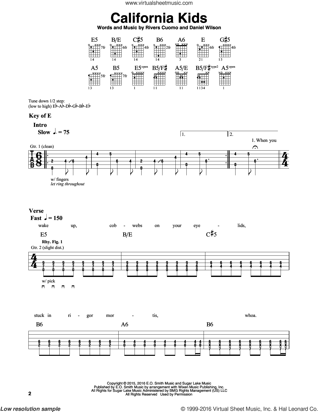 California Kids sheet music for guitar solo (lead sheet) by Weezer and Dan Wilson. Score Image Preview.