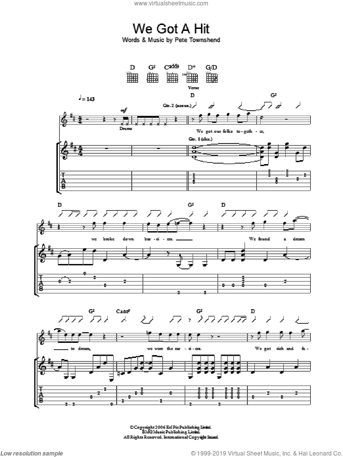 We Got A Hit sheet music for guitar (tablature) by Pete Townshend and The Who. Score Image Preview.