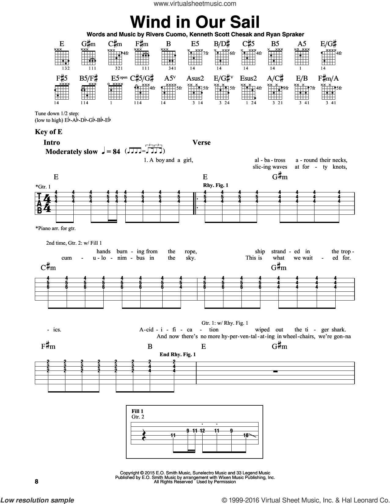 Wind In Our Sail sheet music for guitar solo (lead sheet) by Ryan Spraker, Weezer and Rivers Cuomo. Score Image Preview.