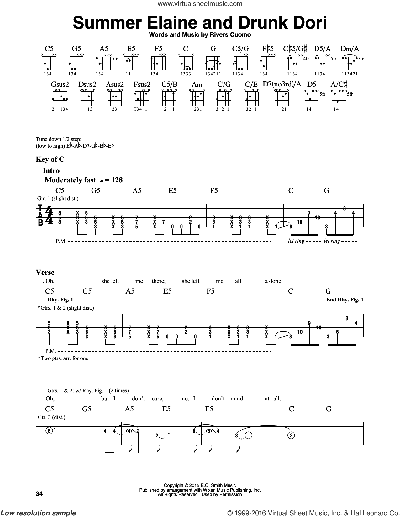 Summer Elaine And Drunk Dori sheet music for guitar solo (lead sheet) by Rivers Cuomo and Weezer. Score Image Preview.