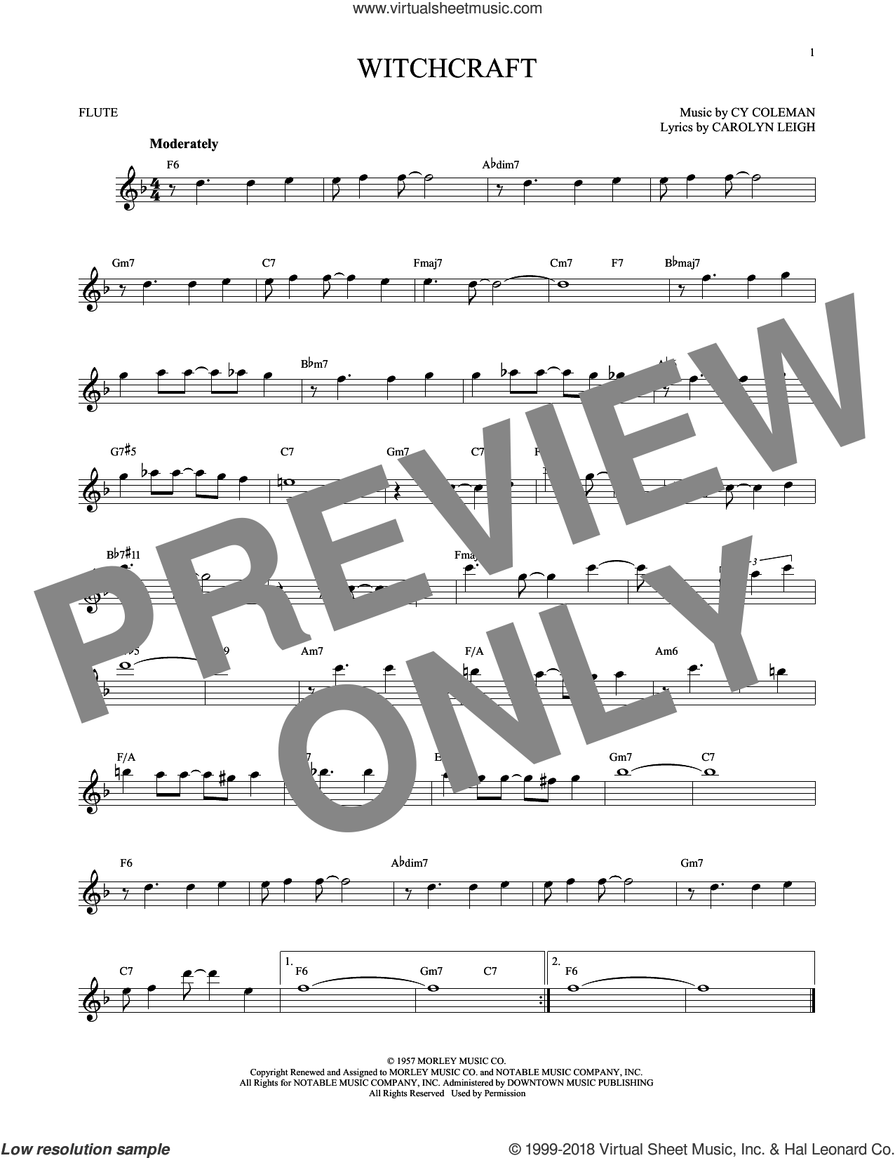 Witchcraft sheet music for flute solo by Cy Coleman and Carolyn Leigh, intermediate skill level