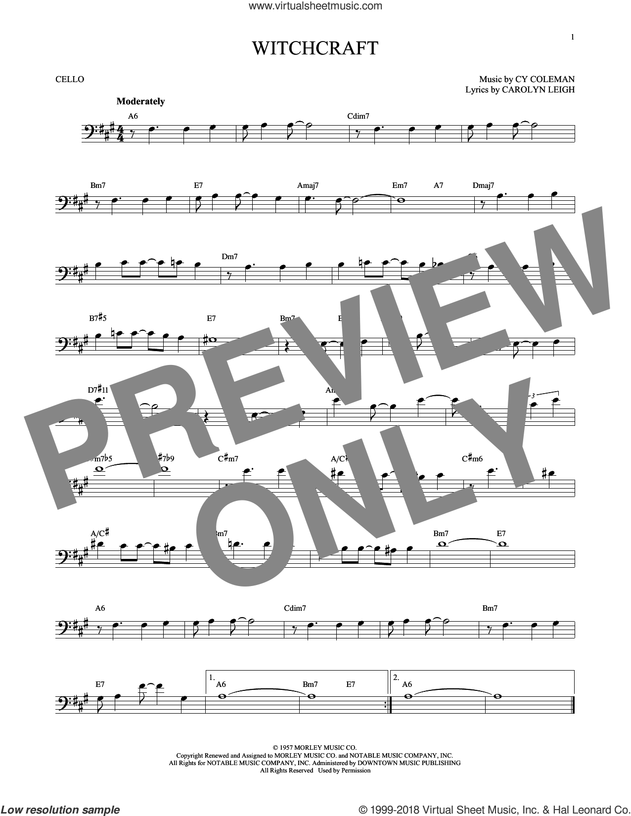 Witchcraft sheet music for cello solo by Cy Coleman and Carolyn Leigh, intermediate skill level