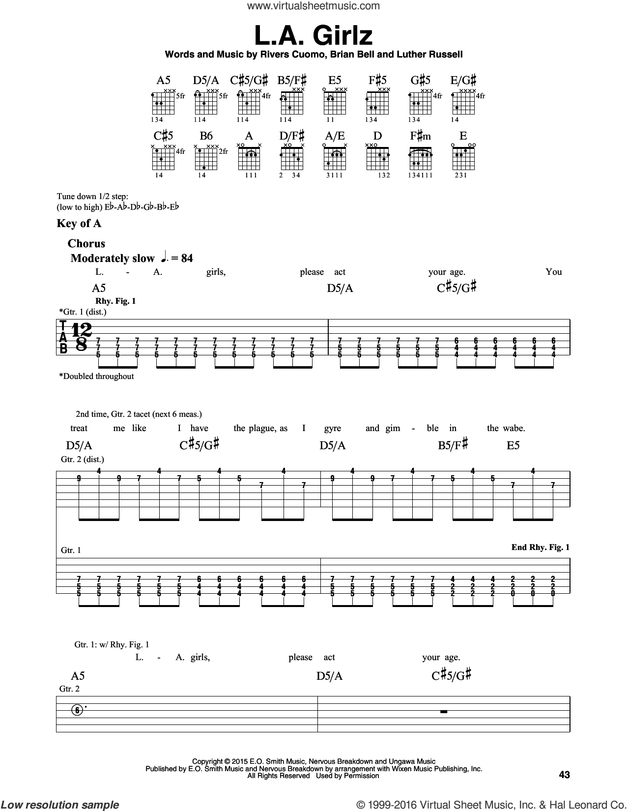 L.A. Girlz sheet music for guitar solo (lead sheet) by Rivers Cuomo and Weezer. Score Image Preview.