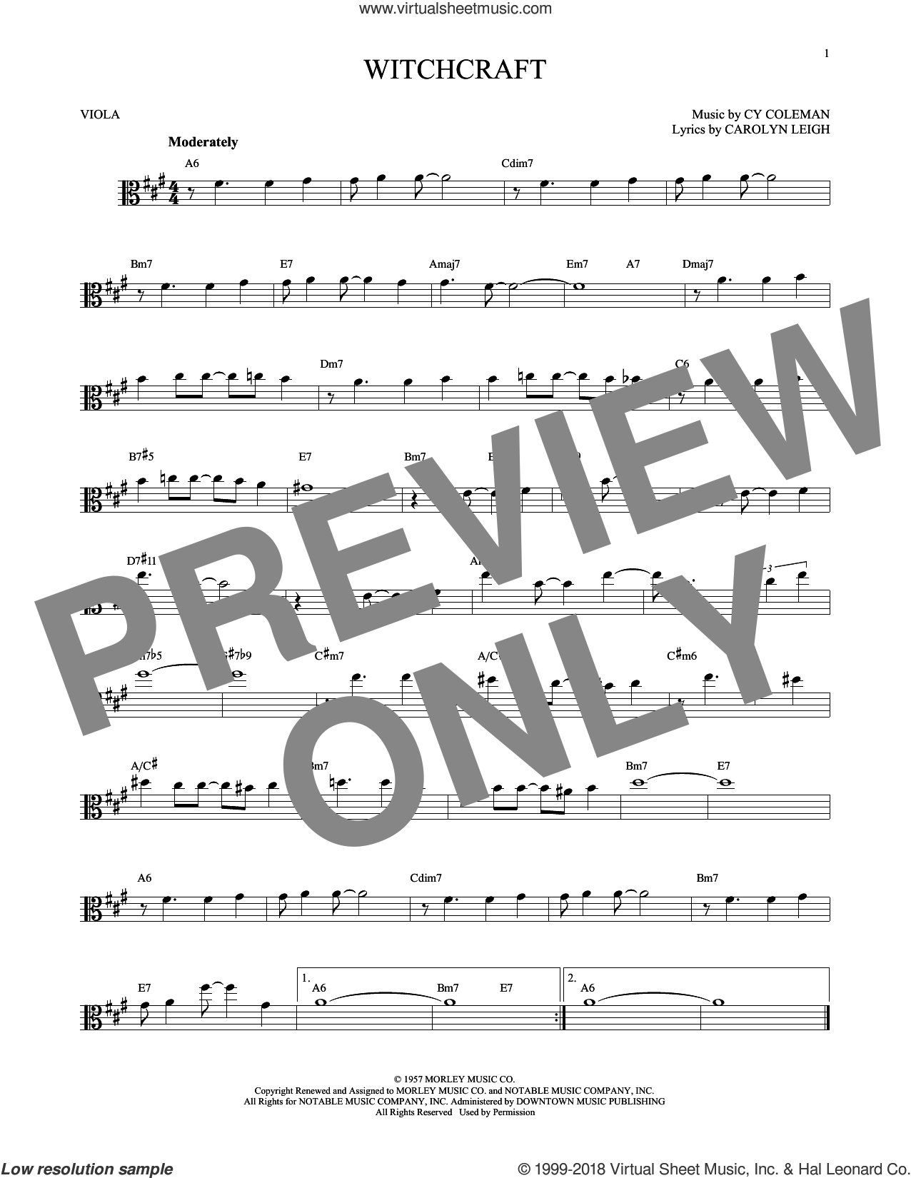 Witchcraft sheet music for viola solo by Cy Coleman and Carolyn Leigh, intermediate skill level