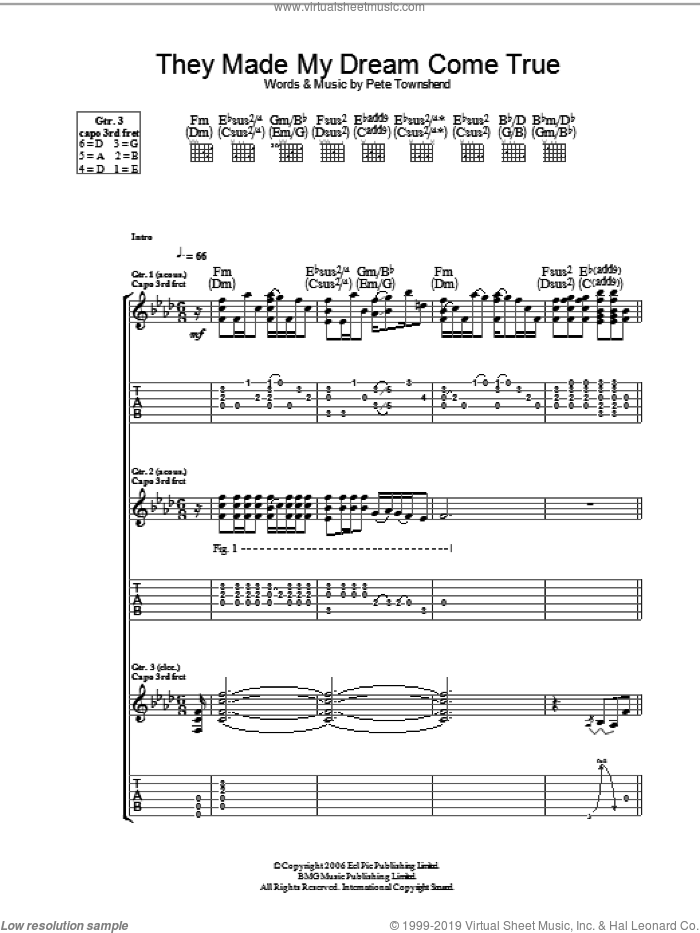 They Made My Dream Come True sheet music for guitar (tablature) by The Who and Pete Townshend, intermediate skill level