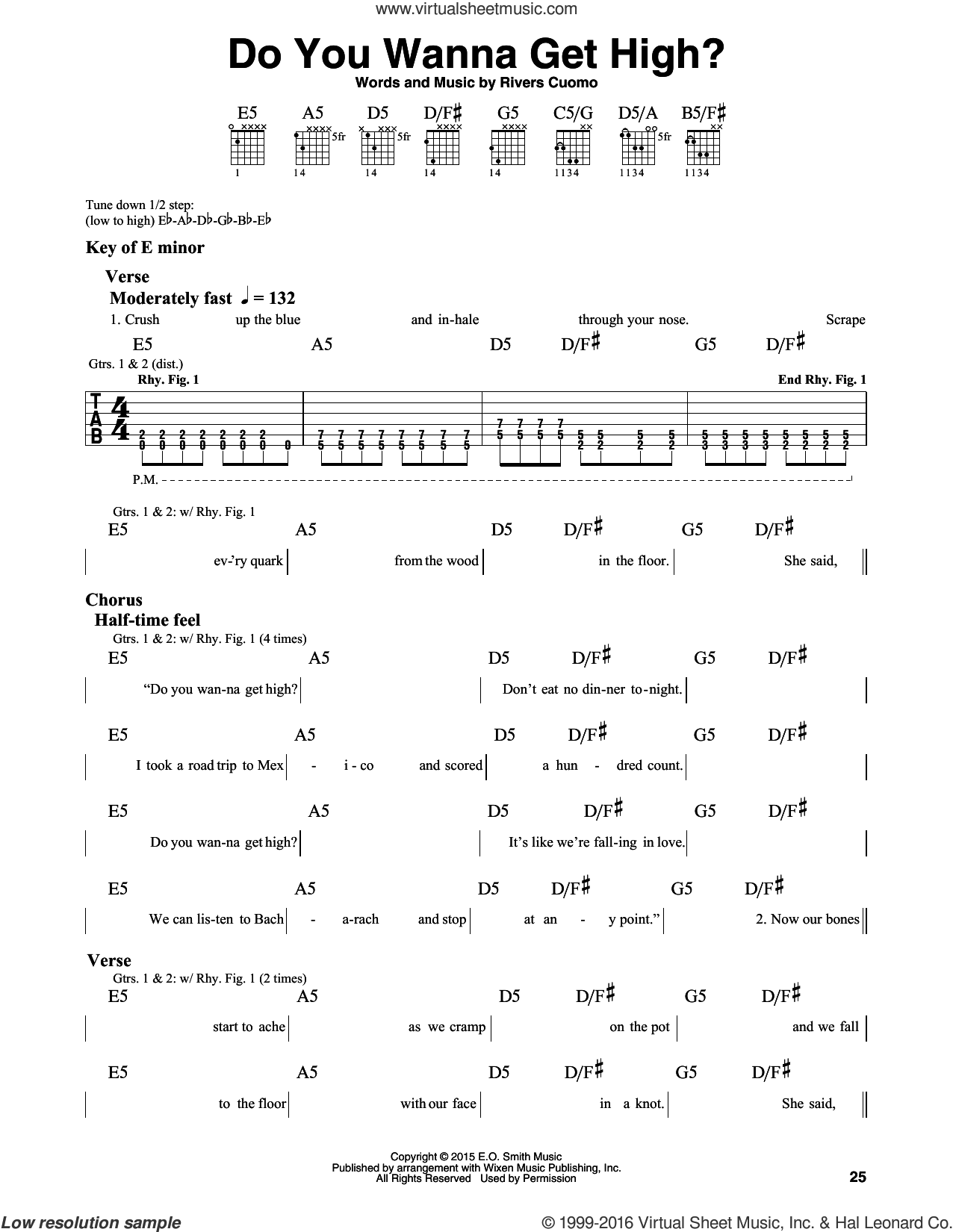 Do You Wanna Get High? sheet music for guitar solo (lead sheet) by Weezer. Score Image Preview.