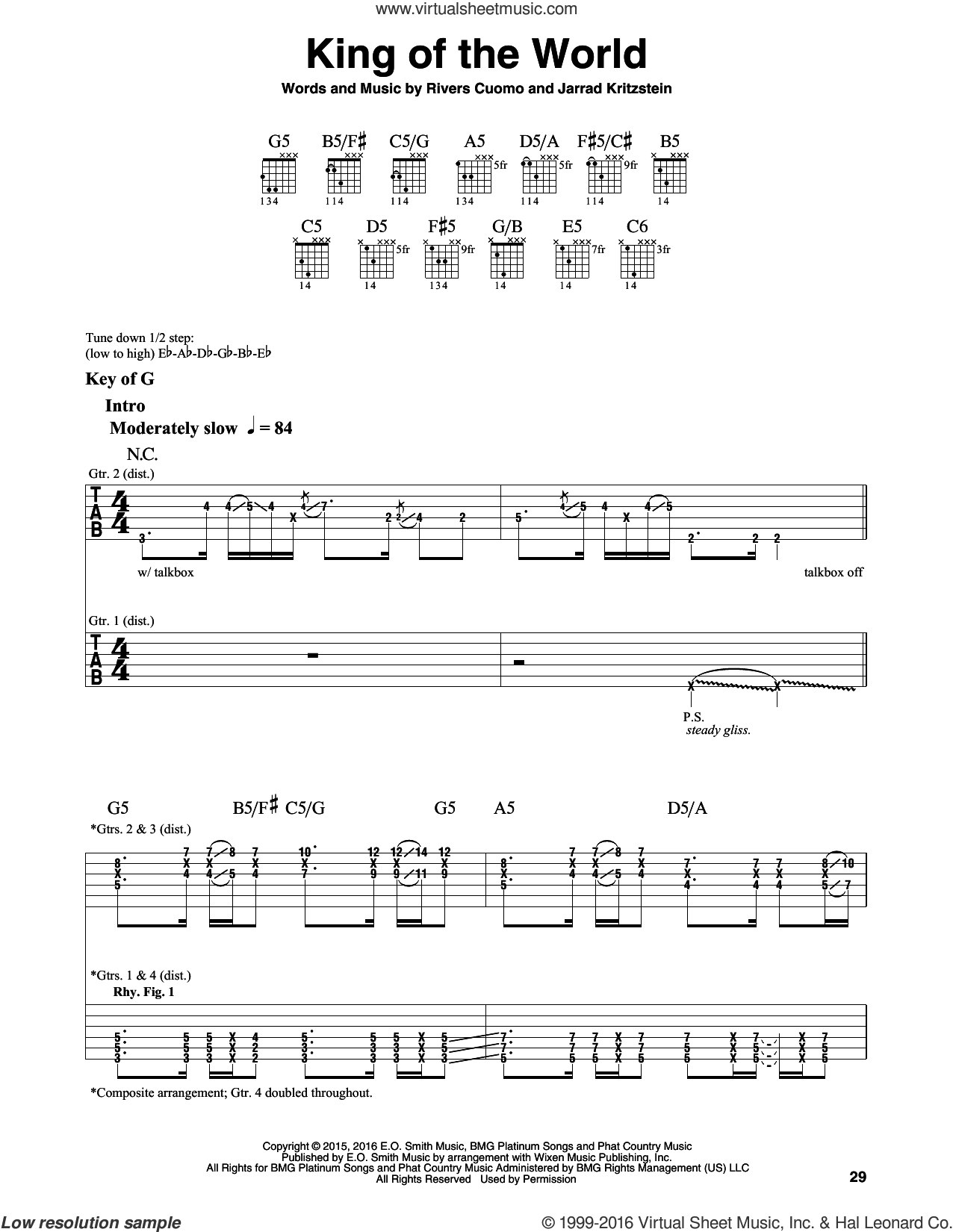 King Of The World sheet music for guitar solo (lead sheet) by Weezer, intermediate guitar (lead sheet). Score Image Preview.