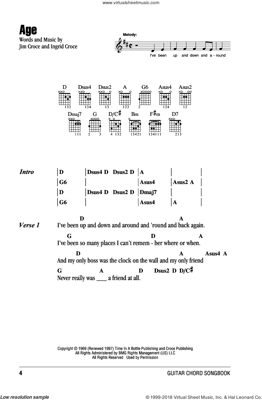 Age sheet music for guitar (chords) by Jim Croce and Ingrid Croce, intermediate skill level