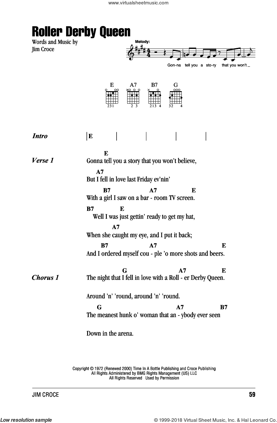 Roller Derby Queen sheet music for guitar (chords) by Jim Croce, intermediate skill level