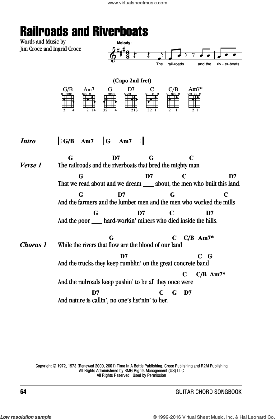 Railroads And Riverboats sheet music for guitar (chords) by Jim Croce and Ingrid Croce, intermediate skill level