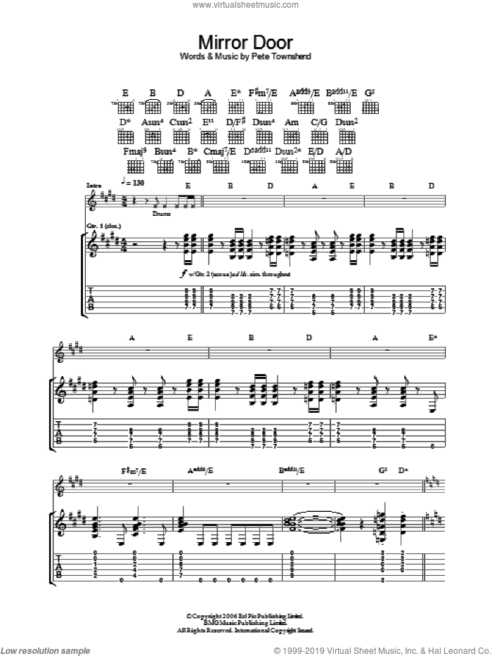 Mirror Door sheet music for guitar (tablature) by Pete Townshend and The Who. Score Image Preview.