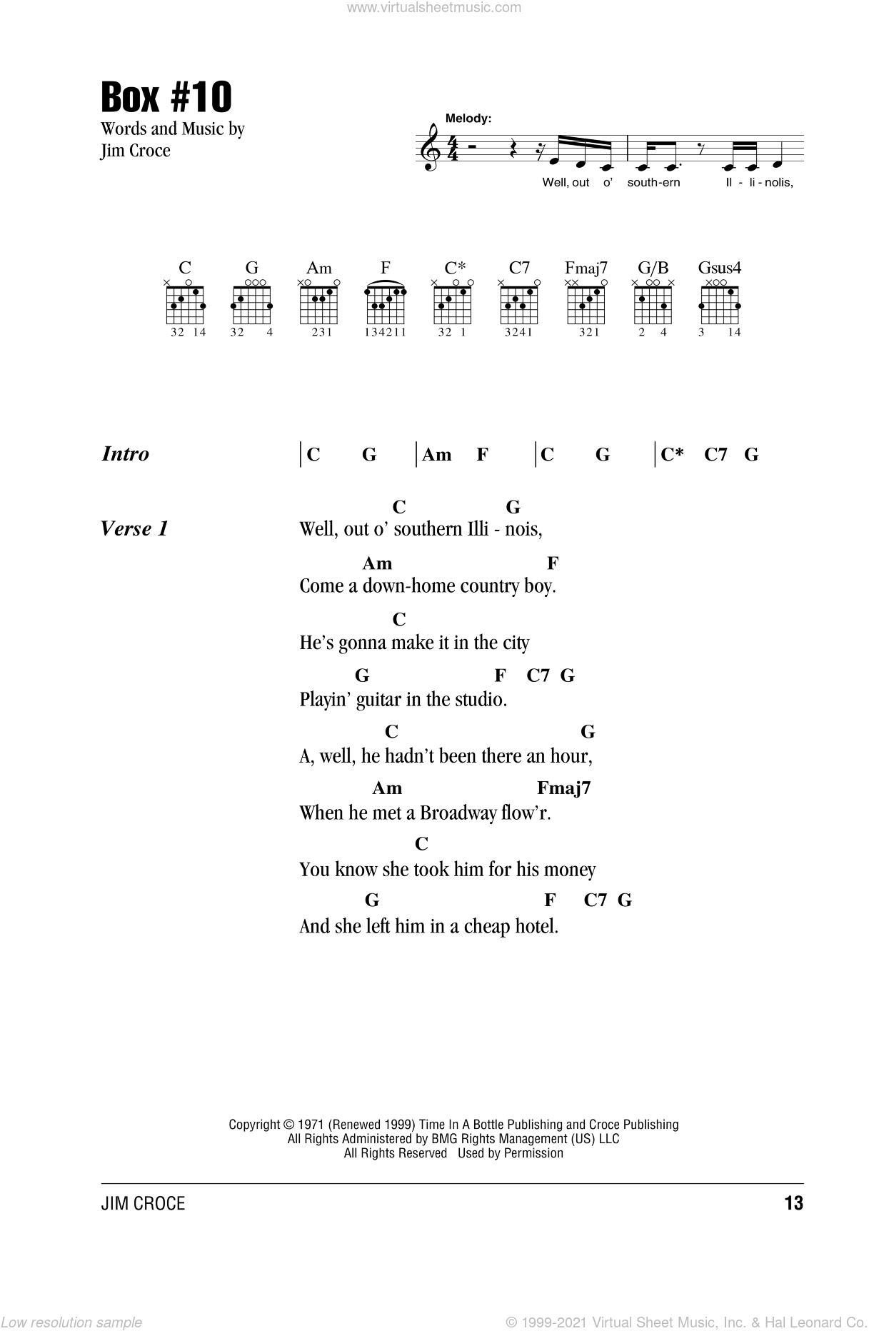 Box #10 sheet music for guitar (chords) by Jim Croce, intermediate skill level