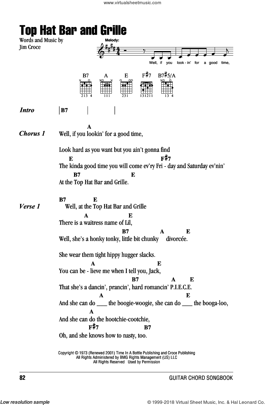 Croce Top Hat Bar And Grille Sheet Music For Guitar Chords