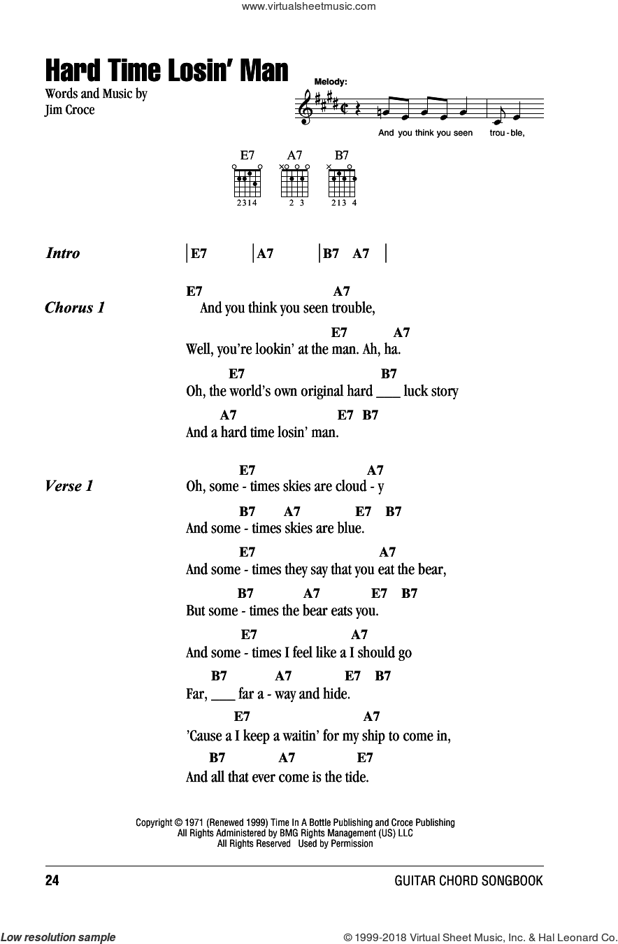Hard Time Losin' Man sheet music for guitar (chords) by Jim Croce, intermediate skill level