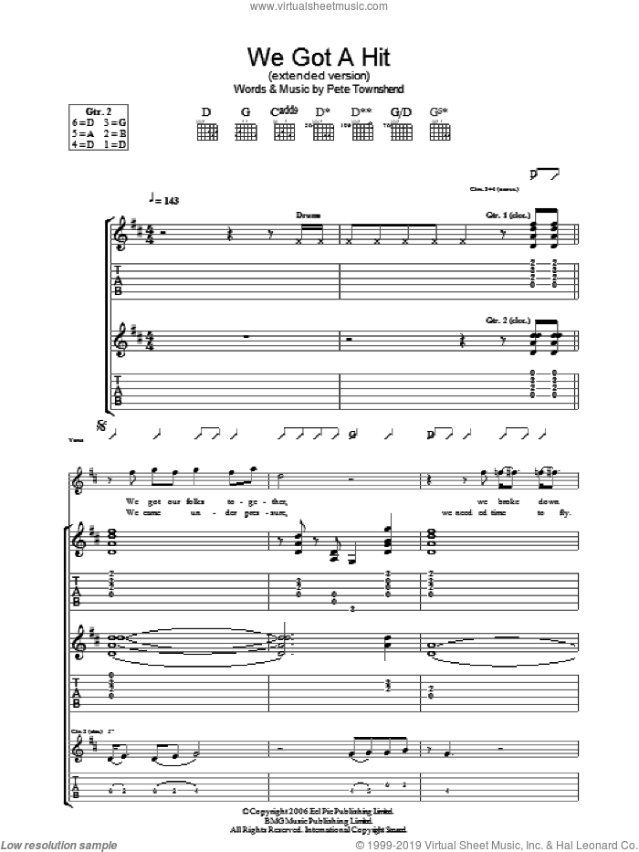 We Got A Hit (Extended Version) sheet music for guitar (tablature) by Pete Townshend and The Who. Score Image Preview.