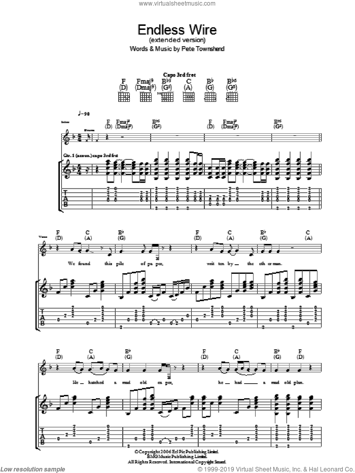 Endless Wire (Extended Version) sheet music for guitar (tablature) by Pete Townshend