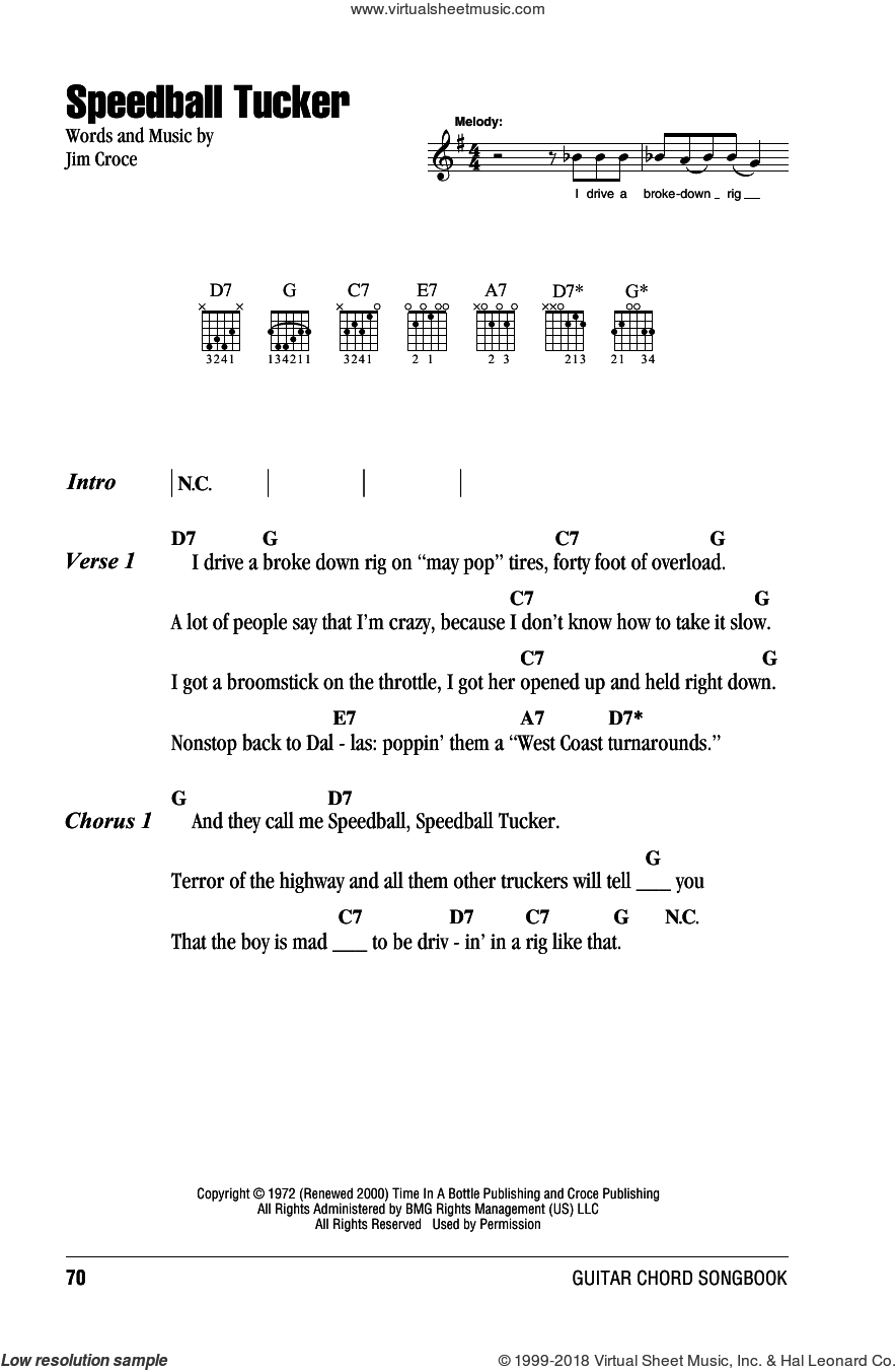 Speedball Tucker sheet music for guitar (chords) by Jim Croce, intermediate skill level
