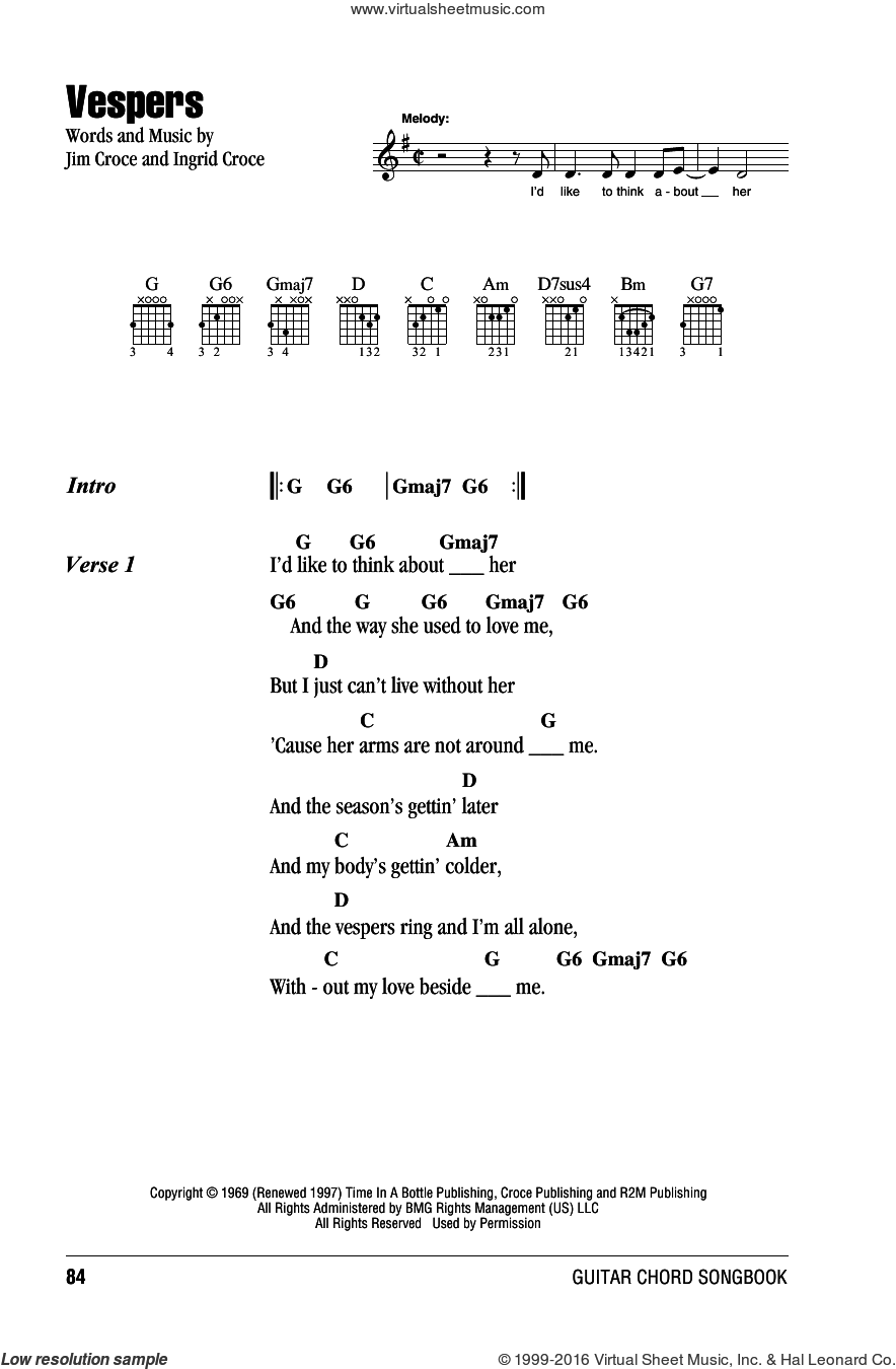 Vespers sheet music for guitar (chords) by Jim Croce and Ingrid Croce, intermediate skill level