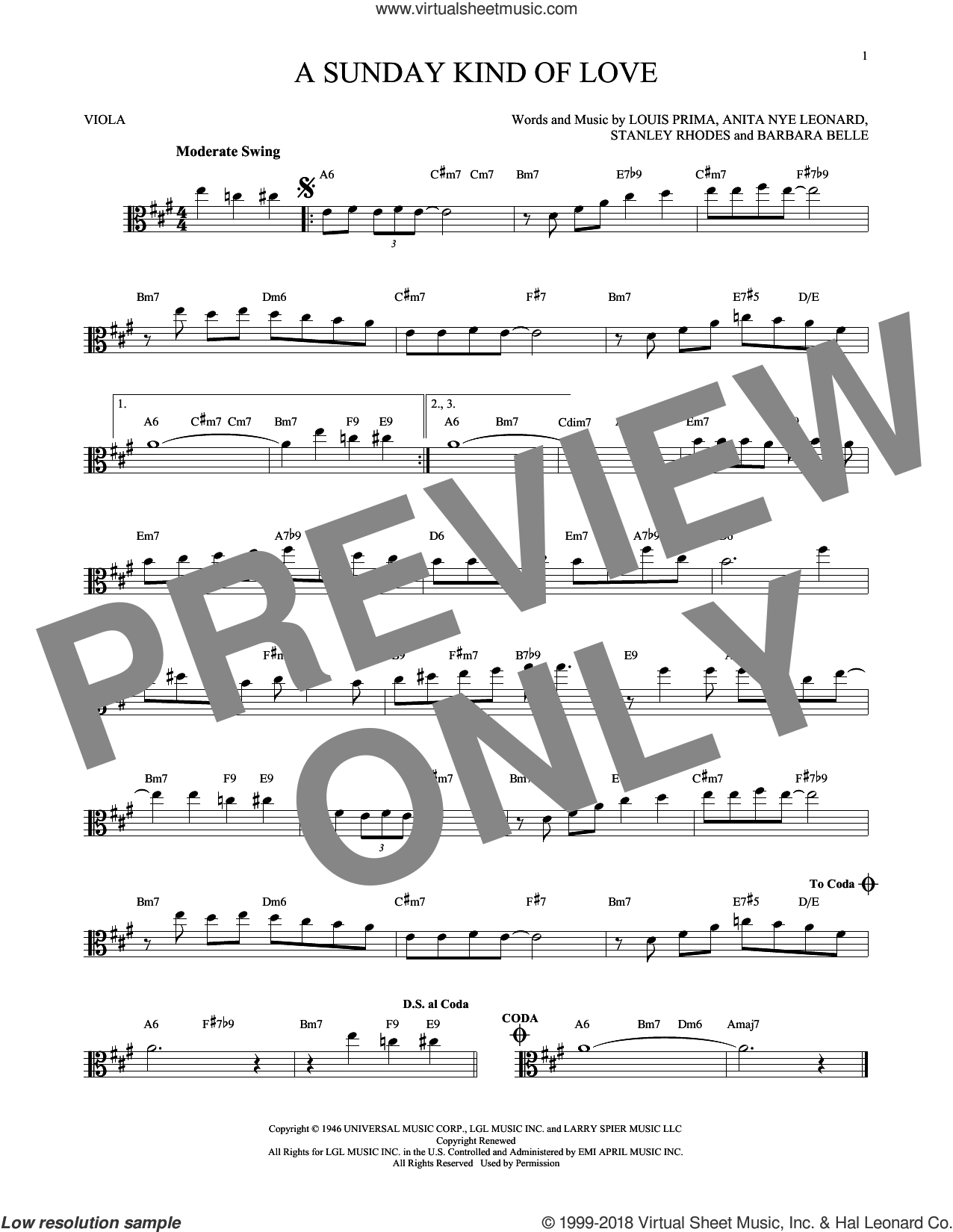 A Sunday Kind Of Love sheet music for viola solo by Stanley Rhodes, Etta James, Reba McEntire and Louis Prima. Score Image Preview.