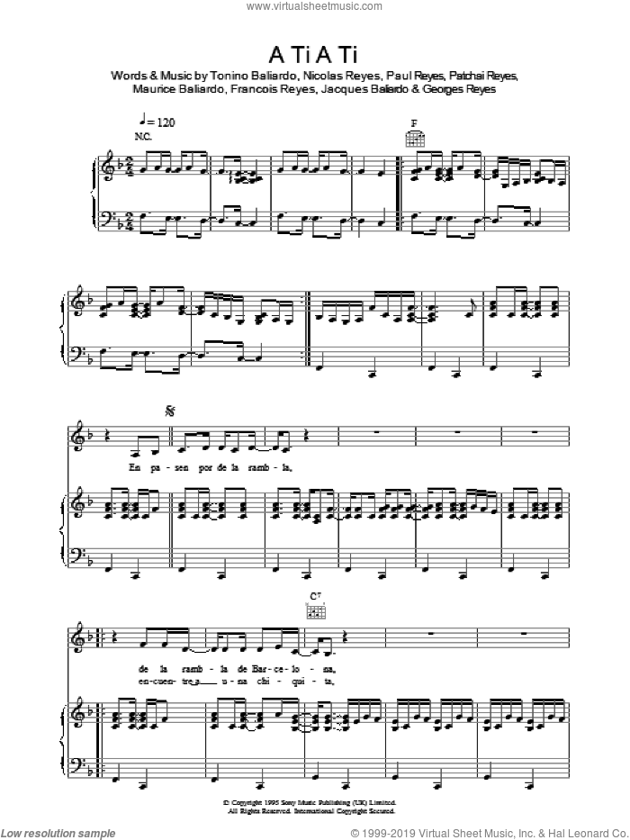 A Ti A Ti sheet music for voice, piano or guitar by Gipsy Kings, Francois Reyes, Georges Reyes, Jacques Baliardo, Maurice Baliardo, Nicolas Reyes, Patchai Reyes, Paul Reyes and Tonino Baliardo, intermediate. Score Image Preview.